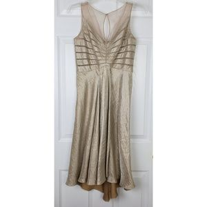 Adrianna papell mesh details high low dress size 4